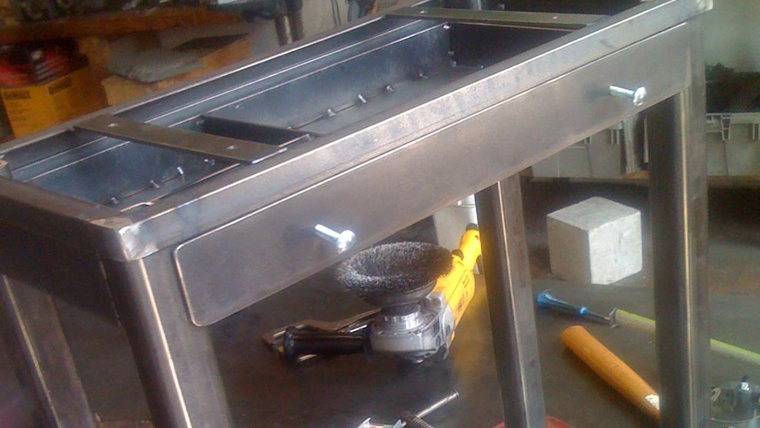 custom metal table in progress