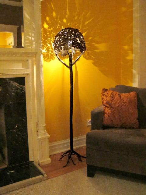 metal floor lamp with tree design