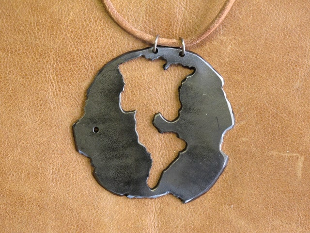 scrap metal map necklace