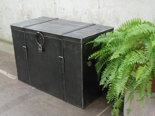 large metal chest with lock