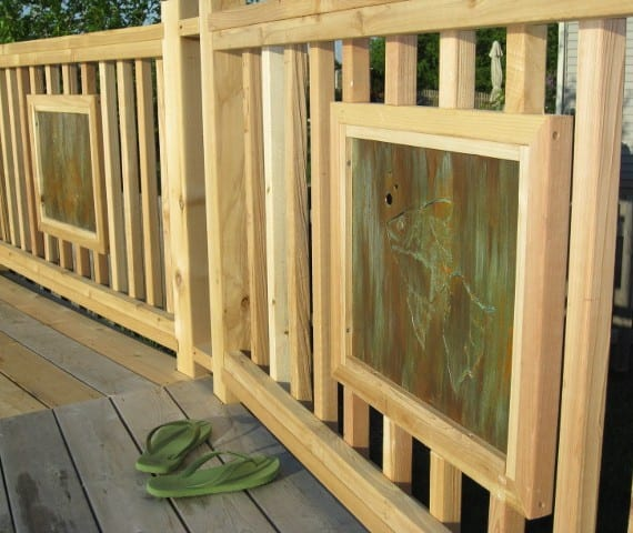 metal deck fence insert with fish