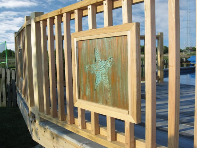 metal deck fence insert with starfish