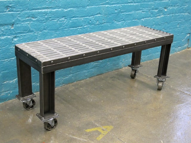 low metal bench with wheels