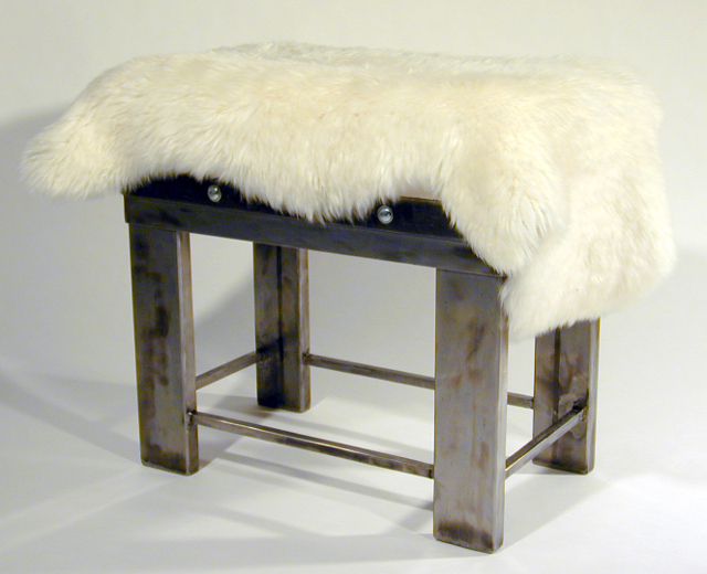 steel bench with wool cushion