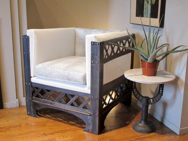 custom steel chair with crisscross design