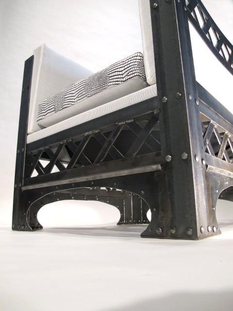 steel chair with crisscross design