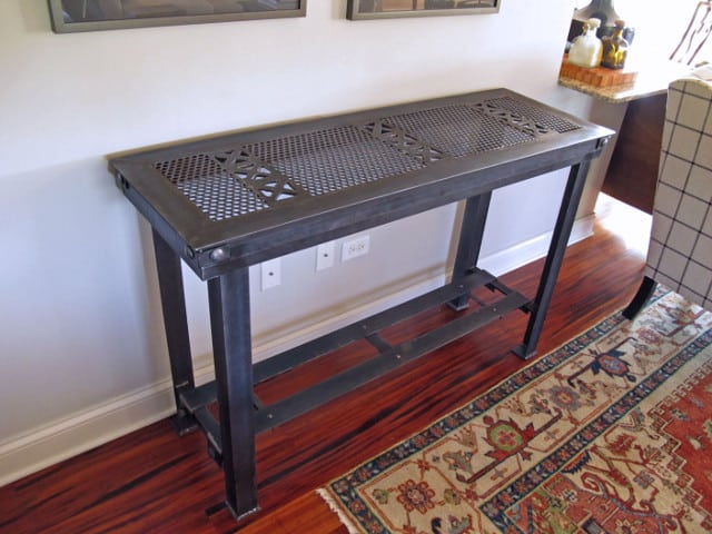 metal console table with crisscross design