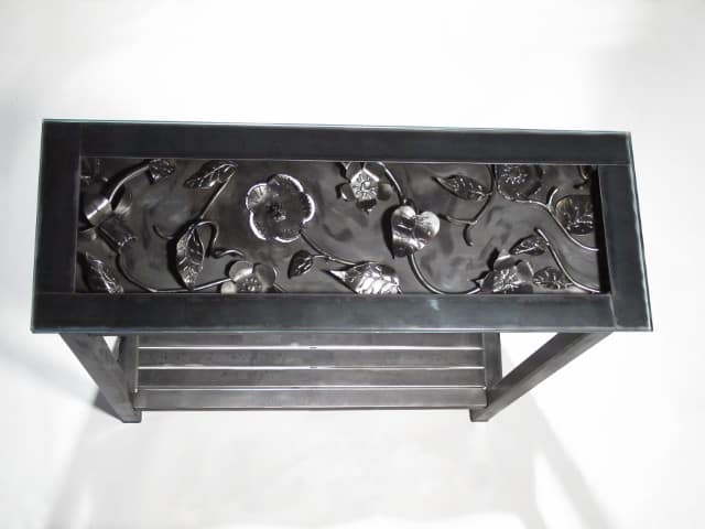 tall metal side table with flowers