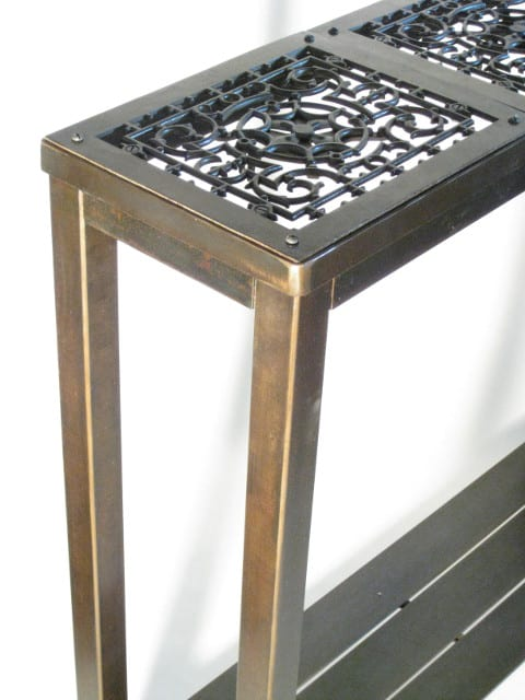 tall steel side table with spiral design