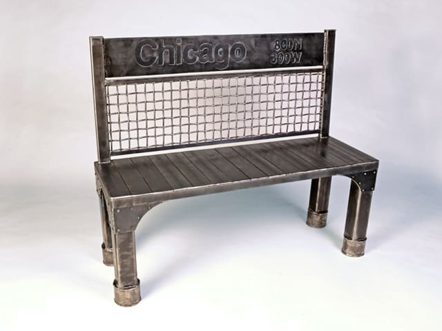 steel bench with chicago design