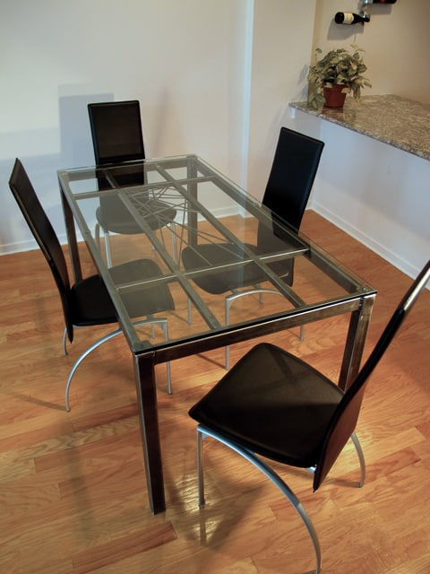 steel dining table with crisscross design