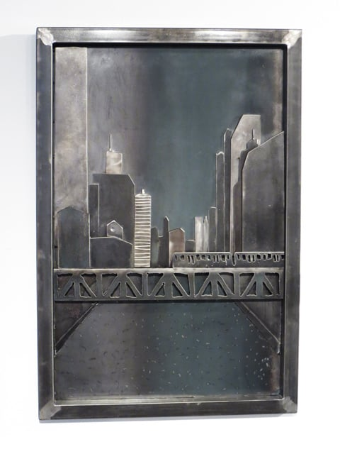 chicago river skyline in steel artwork