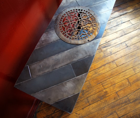 custom tall steel entryway table