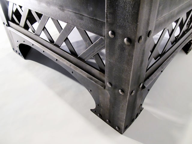 custom brushed steel chair inspired by eiffel tower