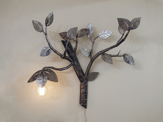 hanging steel light with leaves and branches