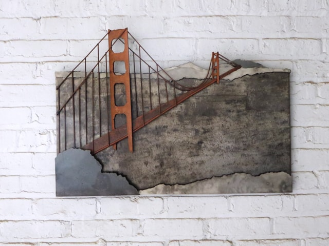 golden gate bridge metal artwork