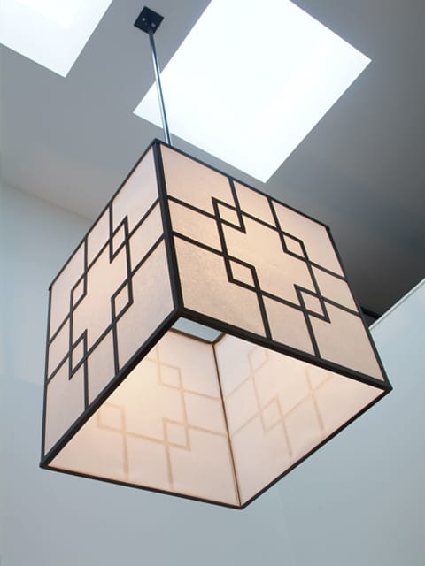 asian square steel pendant light