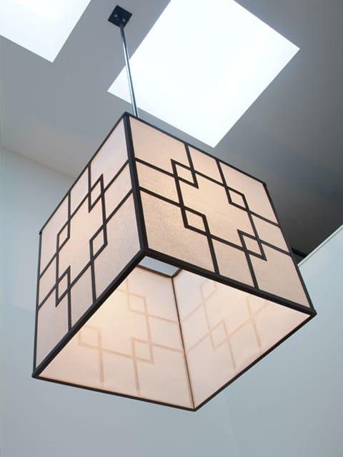 asian square steel pendant light