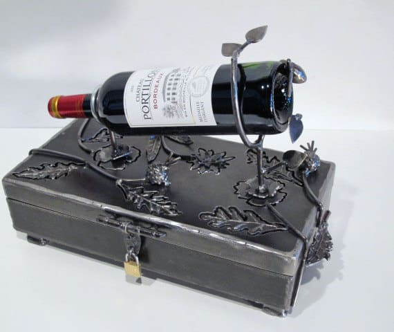 metal keepsake box with wine holder