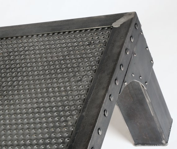 square steel coffee table with rivets