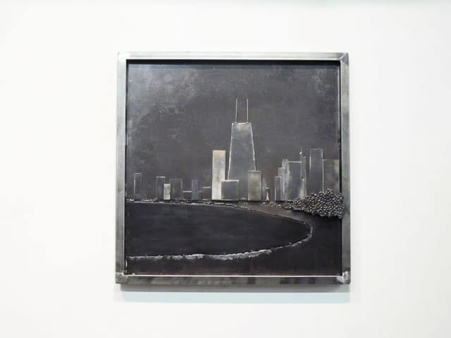 chicago skyline in steel hanging artwork