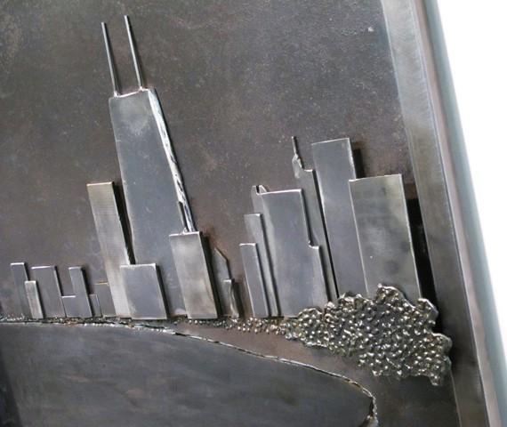 chicago skyline in steel hanging artwork