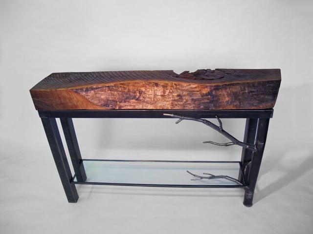steel buffet table with wood