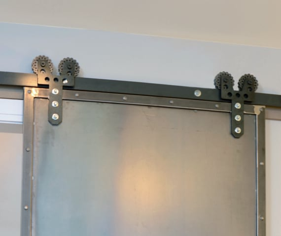 custom brushed steel barn door