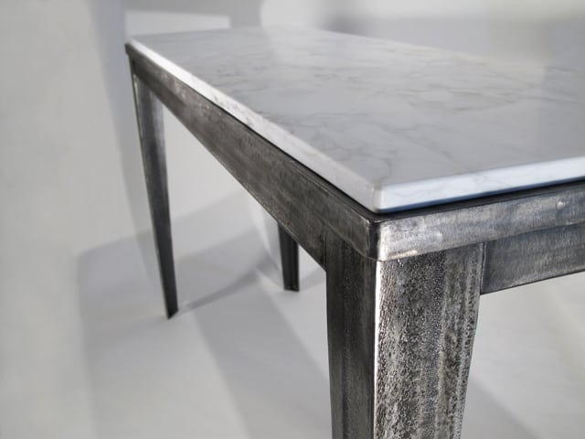 steel console table with marble top