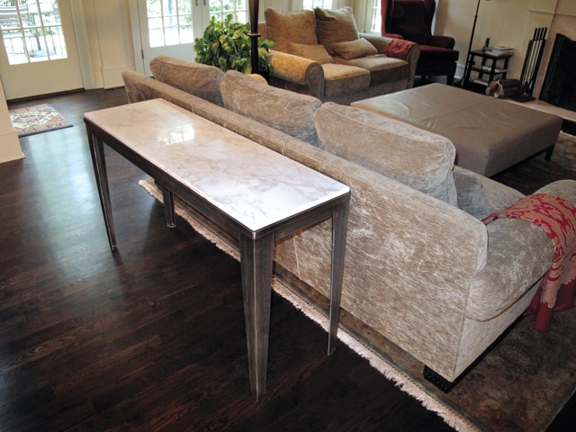 tall metal couch table with marble top