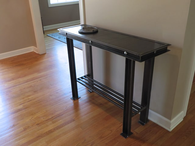 salvaged steel console table with shelf