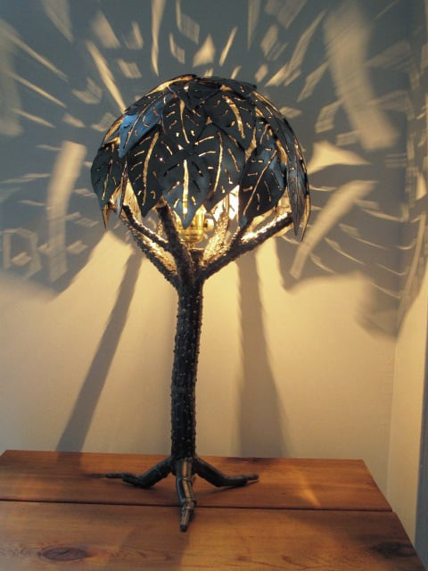 steel lamp with tree design