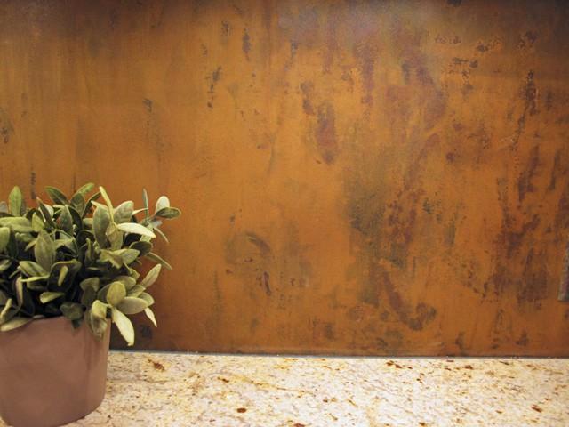 steel backsplash with natural rust patina