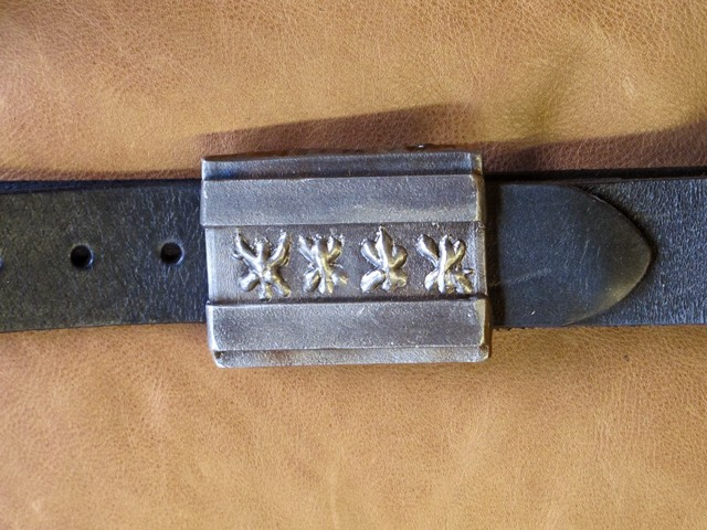 custom steel belt buckle chicago flag