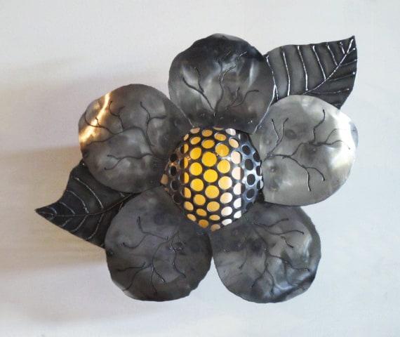 steel flower sconce