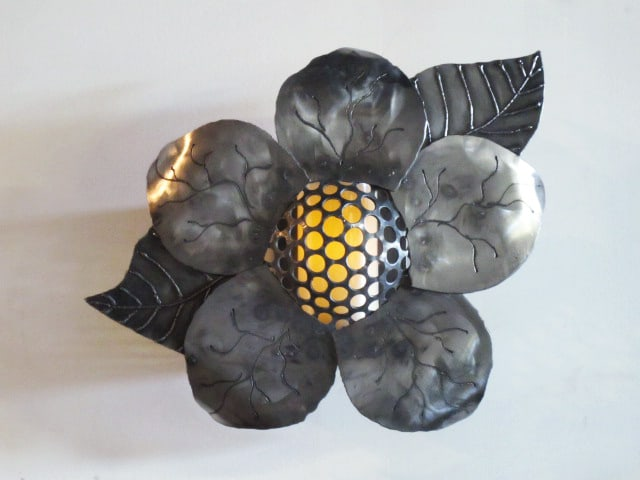 steel flower sconce