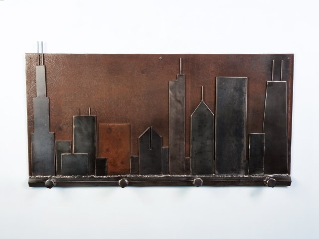 steel coat rack with chicago skyline