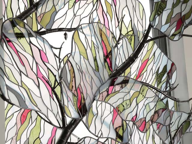 colorful tree steel stained glass window