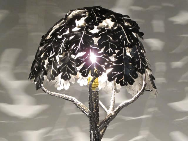 metal lamp with leaves