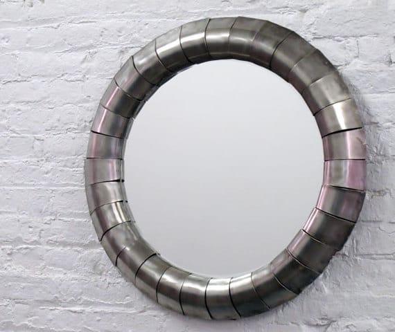 round brushed steel mirror