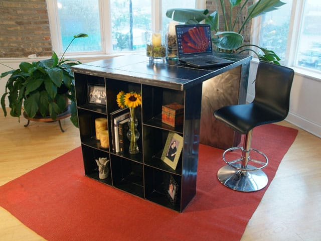 steel desk with shelving