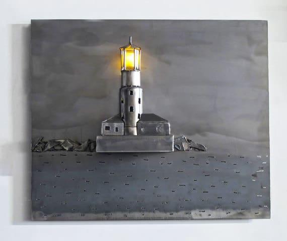 lighthouse in steel hanging artwork