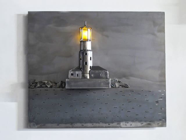 lighthouse in steel hanging artwork