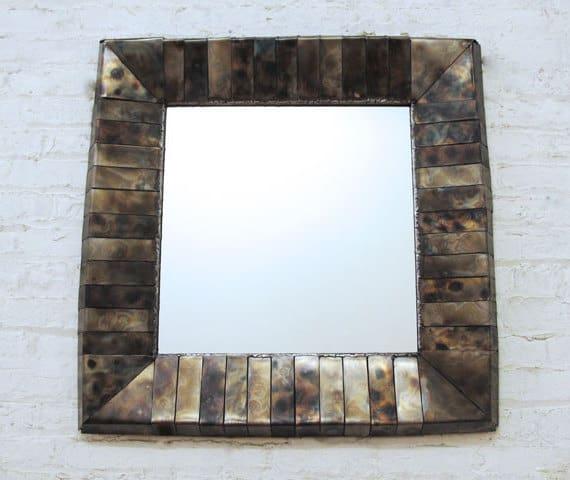 square iridescent steel mirror