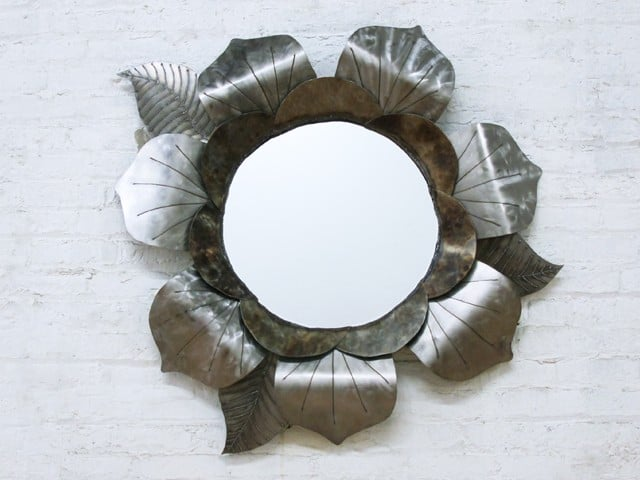 mirror with leaves and petals