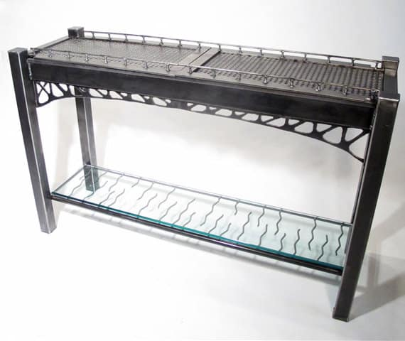 steel table inspired by bridge