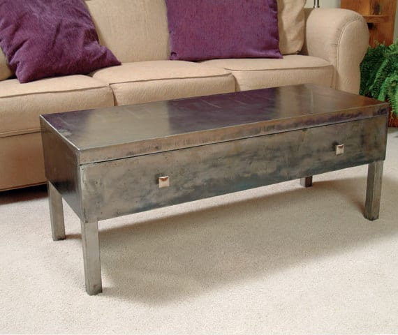 rectangular steel coffee table
