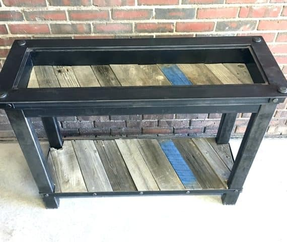 Handcrafted table wood steel