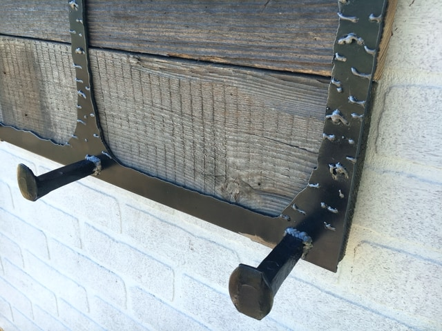 Repurposed Railroad Spikes in Metal Coat Rack